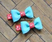 Coral and aqua hair clips, hair bows, polka dots, baby bows,