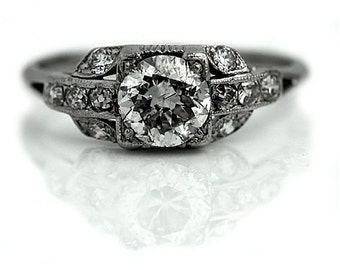 Antique Engagement Ring Art Deco Diamond Ring 1.39ctw European Cut Platinum Engagement Ring 1930s Vintage Estate Diamond Ring!