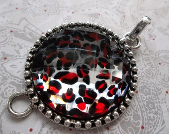 Silver Jewelry Connector - Red & Black Leopard Print - Large and Round - Faceted Dome Top - Includes Bail for Use as Pendant - Qty 1