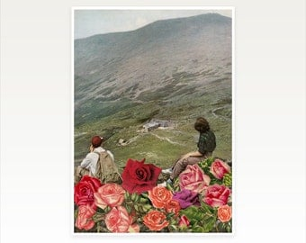 Surreal Art, Floral Mountain Print, Retro Wall Art - Life is a Bed of Roses