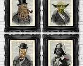 Star Wars Art Print Set Yoda Office Wall Art Set of Prints Dictionary Art Print Set of 4 Prints Cool Man Gift for Boyfriend Movie Poster 010