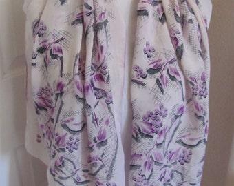 "Beautiful Vintage White Purple Floral Silk Scarf - 16"" x 44"" Long"