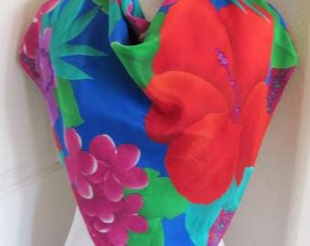"Liz Claiborne // Lovely Colorful Blue Floral Soft Silk Scarf  // 31"" Inch 78cm Square"