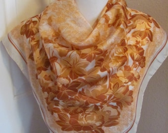 """Beautiful Orange Floral Soft Silk Scarf // 29"""" Inch 73cm Square // Best of the Best"""