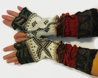 Upcycled Fingerless Gloves  Brown Cream  Armwarmers Recycled Wrist warmers Stripe Knit Fingerless Mittens fashion accessories