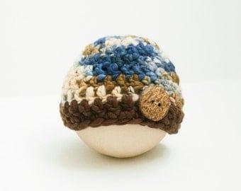 Newborn Boy Button Hat Blue Brown Earth Tones Photo Prop RTS