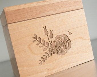 Rose Bouquet Recipe Box - Personalized