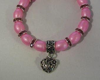 Pink Glass Beads Stretchy Bracelet with Mom Charm