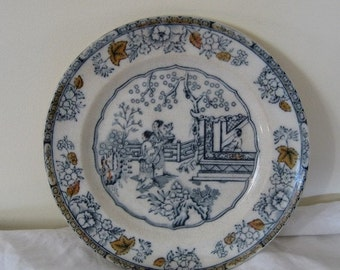ON SALE Victorian Polychrome Transferware Chinese Pattern Ashworth Plate Staffordshire England Collectible