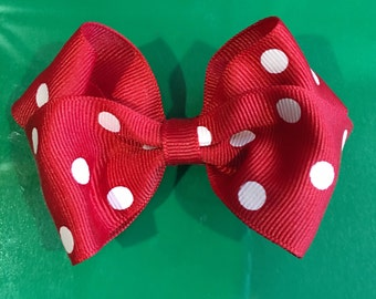 Red with white polka dot hair bow