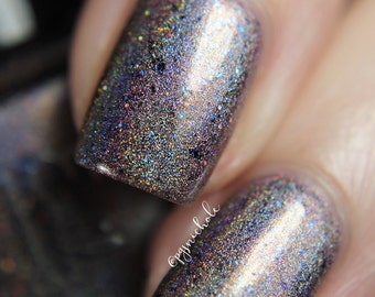 """Nail polish - """"Geode Mine"""" light brown linear holographic polish with blue flakies"""