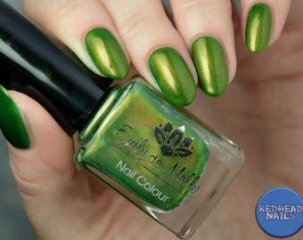 "Nail polish - ""Escape Artist""  Olive green with copper shimmer"