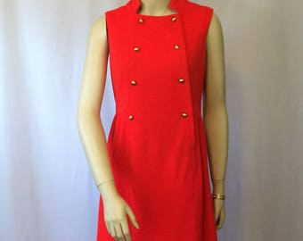Red Polyester Sleeveless Dress 1970's Button Detail Mad Men Retro Style Ladies Small