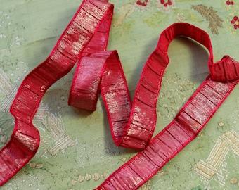 1 yard Antique plisse rare gorgeous metal silk ribbon pink raspberry red silver ribbonwork trim flapper 1900s 1920 edwardian millinery