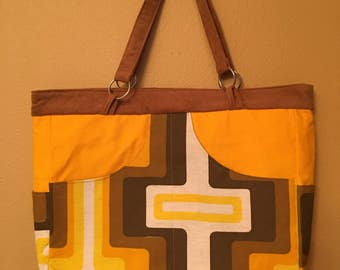 Phoebe #1535, Retro Fabric Purse, Large Purse, Zippered Purse, Shoulder Bag, Shoulder Purse, Handbag, Knitting Bag, Project Tote, Purses,