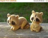 Set of 2 Darling JOSEF ORIGINALS Flocked Raccoon Figurines Circa 1960s So Cute