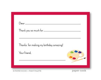 Paint Palette PRINTABLE Fill-in-the-Blank Thank You Note