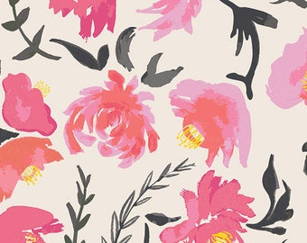 Pink Black and Yellow Watercolor Floral Jersey Knit Fabric, Wonderful Things by Bonnie Christine for Art Gallery Fabrics, 1 yard Jersey KNIT