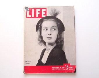 1940s Life Magazine complete issue November 24, 1947 Karl Priebe Surrealism Modern Art Hollywood Communism Met Opera Prettiest Subdeb Italy