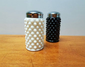 Fenton Hobnail Salt and Pepper Shakers black and white