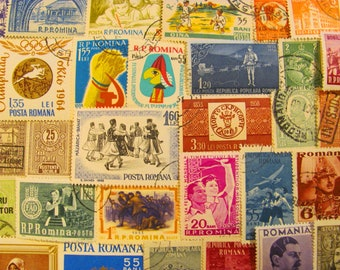 Bucharest or Bust 50 Vintage Romanian Postage Stamps Romania Posta Romana Eastern European Folk Art Midcentury Scrapbook Worldwide Philately