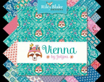 "Vienna Charm Pack Stacker by Riley Blake Fabrics, 42 Pieces, 5"" squares, Bin D"