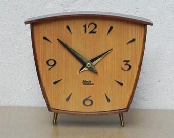 Kundu Asymmetrical Wooden Mantel Clock, New Battery Movement, Original Hands