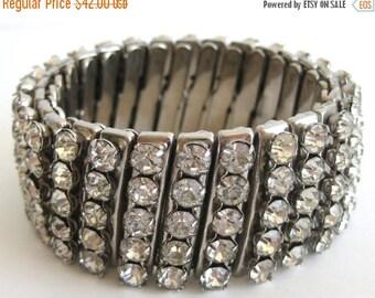 SPRING SALE Vintage 50s 60s Silver & Rhinestone Mad Men Glamour Girl Wide Stretch Bracelet