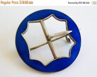 SPRING SALE Vintage Danish Sterling Silver Blue Guilloche Enamel Buckle Brooch Pin