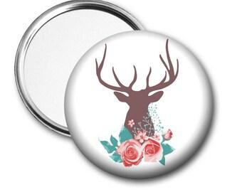 Deer and Roses Pocket Mirror - Deer Mirror
