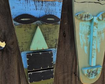 VLAD, Primitive Wall Hanging, Tiki Man, Wood Sculpture,Tiki Mask, Rustic Beach House, Tiki Bar