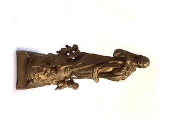 Antique Spelter Statue, Virgin Mary, Immaculate Conception, Mary atop Crescent Moon and Globe with Cherubs