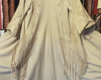 Antique Victorian Tasseled, Corded, Crocheted Ivory Wool Coat, Larger Size