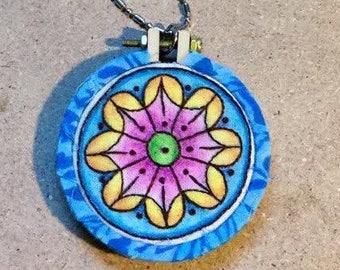 Sunburst Blue Mandala Hand Embroidered Mini Hoop Art Pendant