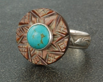 Vintage Mother of Pearl Button Ring with Turquoise Stone