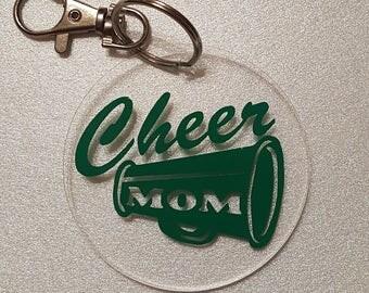 Cheer Mom Acrylic Key Fob Choice of School Color