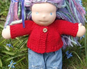 "Waldorf Doll Clothes -Hand knitted Red Color Sweater , fit 10"" inch dolls"
