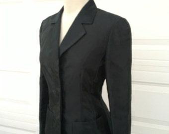 Vintage 1980s KENZO Paris made in France rare black shiny tailored blazer jacket size 38 XS S