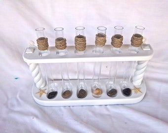 Handmade Redesign Reimagined Nautical Seaside Table Test Tube Vase Display Stand Indoor Outdoor Centerpiece Home Decor Cottage Redesign Set