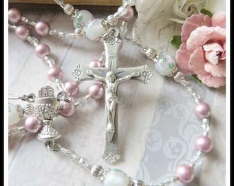 First Communion Rosary, Pink Swarovski Pearl & Lampwork, Girls Catholic Rosary for Sacramental Communion Gift