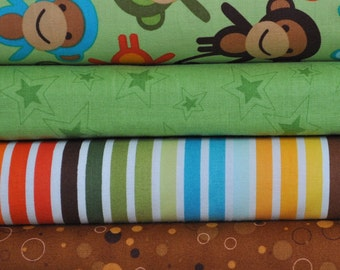 Urban Zoologie Bermuda Monkeys 4 fat quarter bundle for Robert Kaufman, 1 yard total