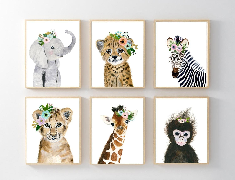 African Baby Animals Nursery Print Set 6 Safari Nursery Art