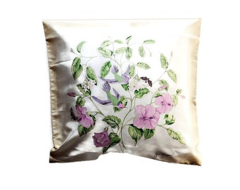 Vintage Jim Thompson Pair Cushion Covesr- Silk Morning Glories and Birds - Two Identical Covers- Never Used.