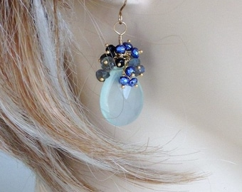 CRAZY SALE: Ashira Aqua Chalcedony Gemstones, Spinel, Labradorite and Neon Blue Pyrite Wire Wrapped Earrings -  2""