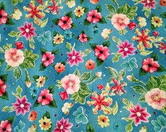 Cotton Fabric, 1/4 Yard, Flowers, Butterflies, Blue, Pink, Yellow, Floral Print, Quilt, Quilting, Pillow, Crafts, Sewing, Gift