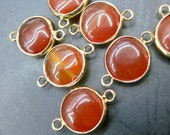 Red Agate 15mm round connector beads with gold plating wrapped- Double Bail- #23
