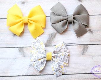 Owl hair bow, grey yellow hair bows, girls hair bow set, baby hair bow set, small bows, small hair bow, baby hair bow, toddler hair bow