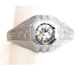 1920s Art Deco Solitaire Crystal Ring, Zigzag Pattern - NOS, New Old Stock