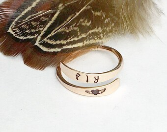 14K Rose Gold Filled Fly Ring Firstloveyourself Heart With Wings Adjustable Wrap Boho Luxe Fashion Item 596RYAS