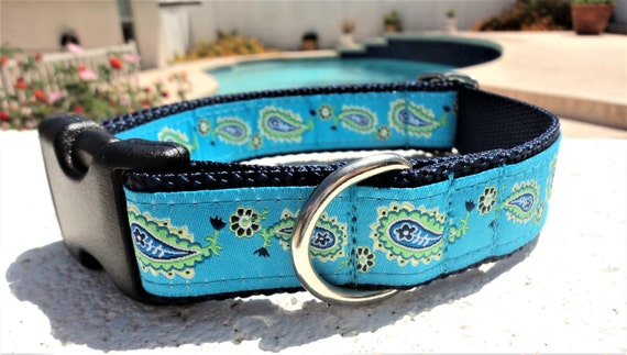"""Sale Dog Collar Turquoise Paisley 1"""" width Side Release buckle - no martingale limited ribbon"""